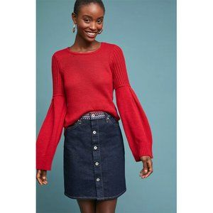 NWT Levi's Embroidered Button Front Denim Skirt 29